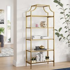 Just for You Damon Standard Bookcase Mistana Cube Bookcase, Etagere Bookcase, Ladder Bookcase, Bookshelves, Gold Bookshelf, Gold Etagere, Bookshelf Styling, Metal Shelves, Wall Shelves