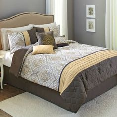 Better Homes and Gardens Morris Comforter Set, 9 Piece, Brown