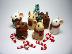 Tiny Cozy Christmas Mouse with Candy Cane by QuernusCrafts on Etsy, £8.00