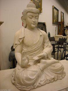 Large Buddha Cast Stone Indoor Outdoor Garden Hindu Classic Gesture Ships free