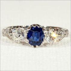 Antique Edwardian Sapphire and Diamond Engagement Ring, 18k & Platinum