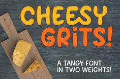 cheesy grits is a fun, fat, blobby font that's perfect for l.s a few additional double-letter ligatures and alternates. Cheesy Grits, Font Maker, Christmas Fonts, Moving To Florida, Character Map, Handwritten Fonts, Tangier, Beautiful Fonts, Cool Fonts