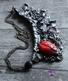 Gothic necklace-Ladybird necklace-Polymer clay by claycessories