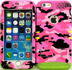 """Pink, Black and Green """"Cute Girly Camo with Non-Slip Grip Texture"""" 3 Piece Layered ULTRA Tuff Custom Armored Hybrid Case for the NEW iPhone 6 Plus 5.5"""" Inch Smartphone by Apple {Made of Soft Silicone Gel and Hard Rubberized Plastic with External Built in Kickstand} """"All Ports Accessible"""""""