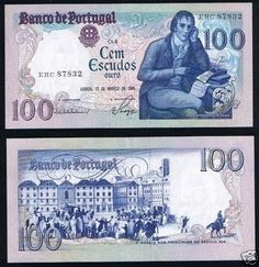 100 Escudos 1985 O antigo dinheiro portugues antes do Euro (Old portuguese many before the Euro)