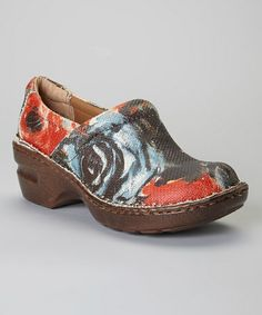Love this Coral Art Deco Peggy Leather Clog by b.o.c on #zulily! #zulilyfinds