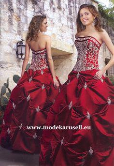Abendkleid Weinrotes Ballkleid 2013 Brautkleid in Rot Dunkelrot Bordo  www.modekarusell.eu