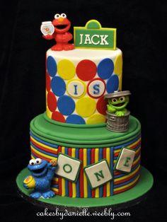Colourful Sesame Street inspired cake Sesame Street Cake, Sesame Street Birthday, Fancy Cakes, Cute Cakes, Beautiful Cakes, Amazing Cakes, Little Man Cakes, Elmo Cake, Character Cakes
