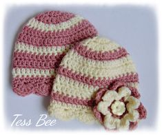 Handmade Crochet Lovliness by icrochetedthis on Etsy Twin Baby Girls, Cute Baby Girl, Crochet Baby Hats, Hand Crochet, Flower Hats, Baby Flower, Baby Girl Beanies, Cute Twins, 2nd Baby