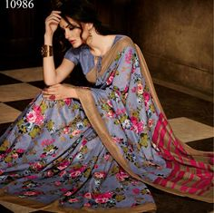 This Handloom Silk Saree Is Crafted In The Awesomeness Of The Color Grey With A Similar Color Blouse That Can Be Stitched Up To Size 44. Grab It Now. #casualsaree, #printedsaree http://www.addsharesale.com/