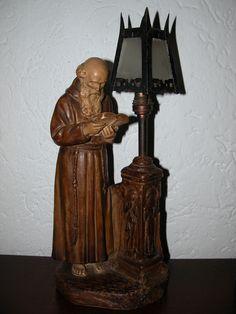 Art Nouveau plaster lamp. Priest reading bible by streetlight. By A. de Ranieri. Height 35 cm.