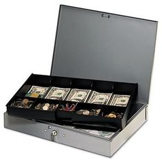 Extra-Wide Steel Cash Box w/10 Compartments, Key Lock, Gray  Price : $89.95 http://www.shopofficemachines.com/Extra-Wide-Steel-Cash-Compartments-Lock/dp/B00BAWJ5WG