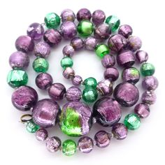 Vintage Bohemian Green & Purple Foil Glass Bead Necklace | Clarice Jewellery