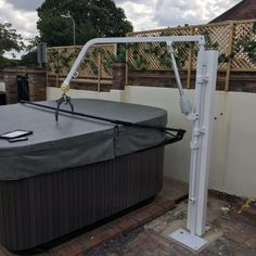 Extended Height and Reach Hot Tub Hoist - Dolphin Mobility Handicap Bathroom, Spreader Bar, Outdoor Furniture, Outdoor Decor, Dolphins, Tub, Home Decor, Bathtub, Decoration Home