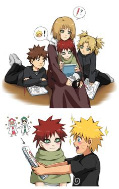 Sand siblings: Temari, Kankuro, Gaara, with their mother Karura; Uzumaki Naruto