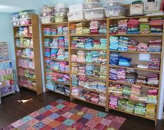 Fabric stash storage - shelves from the local Borders book store, which was going out of business.
