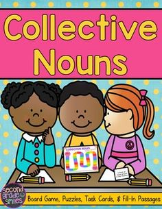 Collective Nouns (Game, Puzzles, Task Cards & More! Small Group Games, Small Groups, Noun Games, Second Grade Writing, Ccss Ela, Collective Nouns, Reading Words, Teaching Phonics, Game 3