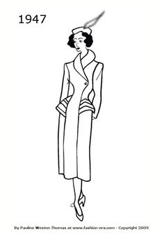 Costume History Coats Silhouettes 1940-1949 - Free Line Drawings