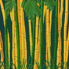 "Hommage au Douanier Rousseau (""Golden Vivax Bamboos"") by Regina Saphier freehand painting on digital medium Feb 09. 2017 (Samsung Galaxy Note Pro 12.2, ArtRage 1.1 & Sensu digital brush)"