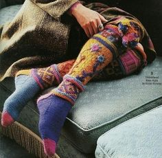 socks in folk art ethnic gypsy lagenlook style Crochet Socks, Knitting Socks, Knit Crochet, Knit Socks, Vogue Knitting, Fair Isle Knitting, Fashion Moda, Sock Shoes, Hippie Style