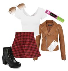"""School Girl"" by livelovedreamride ❤ liked on Polyvore featuring moda, Miss Selfridge, RED Valentino, EASTON, Ray-Ban, Maybelline y Monika Strigel"