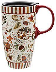 17 Oz Tall Ceramic Travel Mug Coffee Cup With Sealed Lid Flower Travel Mug Coffee Mugs Coffee Cups