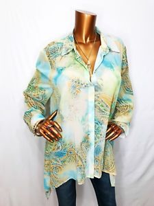 ad007537e Chico's 3 or L/XL Top Tunic Asymmetric Paisley Sheer Loose Fit Button Down  Shirt