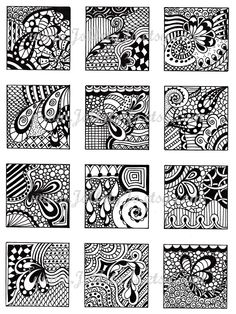 Digital Collage Sheet, Black and White Images, Abstract Zentangle Inspired Art, PDF for Scrapbooking, Jewelry Making, Pendants, Sheet 4. $3.00, via Etsy.
