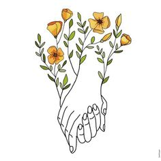 Hand Holding Tattoo, Holding Hands Drawing, Hands Holding Flowers, Outline Art, Outline Drawings, Easy Drawings, Line Art Flowers, Hand Flowers, Pretty Drawings
