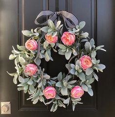 Lamb's Ear Wreath Pink Cabbage Rose Wreath Shabby Chic