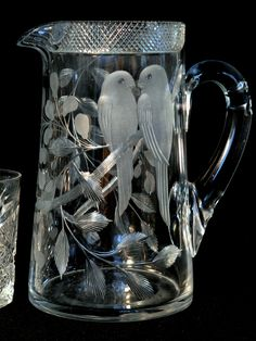 "American brilliant cut glass, Libbey, ""Love Birds""motif, 9"" t"