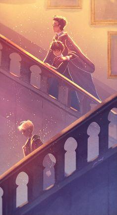 Scorpius Malfoy, Harry and Albus Potter. Fanart Harry Potter, Images Harry Potter, Arte Do Harry Potter, Harry Potter Artwork, Harry Potter Ships, Harry Potter Drawings, Harry Potter Wallpaper, Harry Potter Universal, Character Art