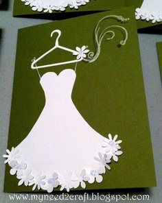 by Terri Deavers: Bridal Shower Luncheon Invite.my bridal shower invites! Thanks terry, krissy girl, and delene!Beautiful card for bridal shower invites, grad, etc.use large scallop die and cut down to make dressHello My Crafty Friends! Wedding Shower Cards, Wedding Cards, Wedding Verses, Diy Invitations, Bridal Shower Invitations, Invitation Templates, Cool Cards, Diy Cards, Bridal Shower Luncheon