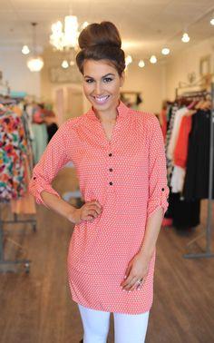 Dottie Couture Boutique - Daisy Tunic Dress- Coral, $36.00 (http://www.dottiecouture.com/daisy-tunic-dress-coral/)