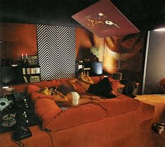 """The unabashed hedonism of the era — shown to great effect in this racy bedroom featured in Terence Conran's 1974 """"The House Book"""" — seems a welcome counterpoint to all the upright, angular Modernism which has dominated interiors for so long."""