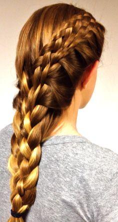 Eight-strand side braid into eight-strand back braid. Thin Hair Haircuts, Slick Hairstyles, Dread Hairstyles, Braided Hairstyles, Trending Hairstyles, Beautiful Hairstyles, Short Permed Hair, Short Thin Hair, Braids