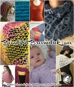 Beautiful Broomstick Lace - video tutorial and 10 free patterns! Love this stitch!