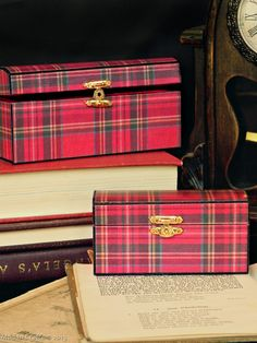 Tartanware Boxes (Wooden boxes decoupaged w/ Tartan fabric), detailed tutorial, by Mad in Crafts.