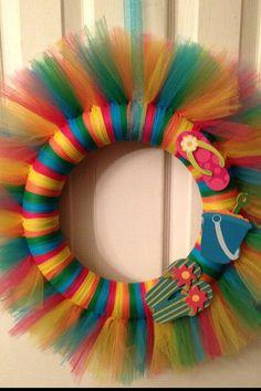 Beach Tulle Wreath by WreathsGaloreDecor on Etsy, $20.00