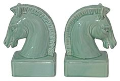 One Kings Lane - Uptown Downtown - Pair of Horse Head Bookends