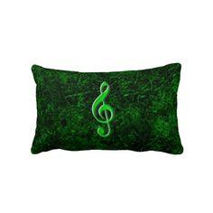 Travesseiro verde de Lombar do símbolo da nota da