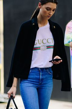 Gucci T-shirt with a blazer and jeans