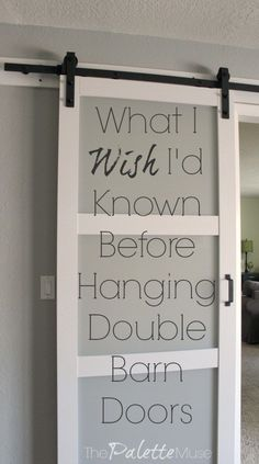 I Wish I'd Known about Double Barn Doors Everything I wished I'd known before installing double barn doors.Everything I wished I'd known before installing double barn doors. Home Renovation, Home Remodeling, Double Barn Doors, Double Sliding Doors, Diy Sliding Barn Door, Hanging Barn Doors, Barn Door Windows, Diy Barn Door Plans, Double Closet Doors