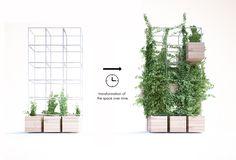 "Penda's Indoor Planting Modules Supply A ""green Oasis"" Inside Home Cafe Cafe Interior Design, Cafe Design, Café Interior, Plaza Design, Cafe Plants, Le Hangar, Cafe Pictures, Inside Home, Steel Bar"