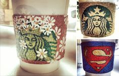 #Starbucks #Coffee Cups And Sleeves #Art By Maria A. Aristidou Made of #Glitter and only Glitter! #creative #superman #starwars #supermario #mariobros #turtles