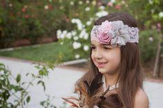 Pink Grey Headband Pink Flower Girl by KennaBridalMaternity beatuiful! 9.00
