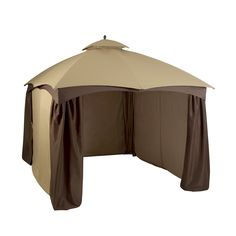 Shop Allen Roth Brown Rectangle Screened Gazebo Foundation 10 Ft X 12 At Lowes