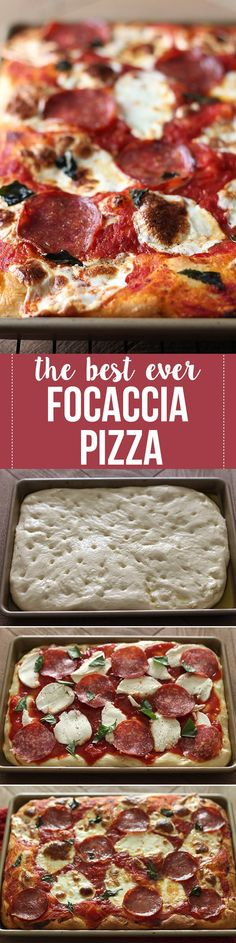 Focaccia Pizza is undoubtedly one of the BEST pizzas I've ever had! Thick and chewy homemade focaccia crust topped with easy tomato sauce and mozzarella. Focaccia Pizza, Flatbread Pizza, Pizza Recipes, Dinner Recipes, Cooking Recipes, Scd Recipes, Restaurant Recipes, Chicken Recipes, Pizza Sans Levain