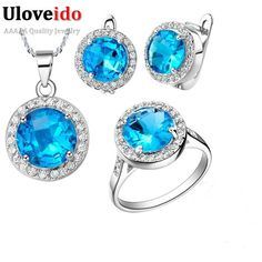 Special offer Uloveido Bridal Jewelry Set for Women Earrings Necklace Ring Jewelry Sets with Blue Stones Wedding Accessories Bijouterie T011 just only $7.99 - 9.99 with free shipping worldwide  #weddingengagementjewelry Plese click on picture to see our special price for you