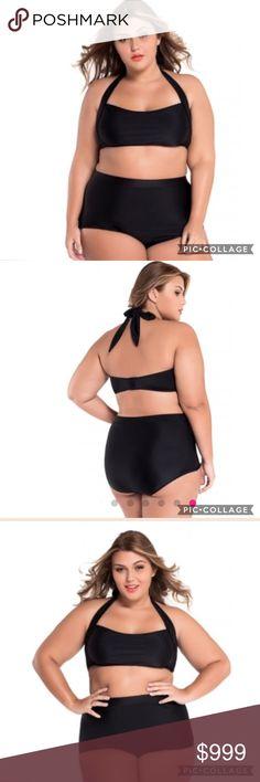 ✨JUST IN ✨ Plus Black Halter bikini top and bottom BRAND NEW PLUS size Black Bikini and matching bottom! ♥ The top is Halter style and has padding! ♥ Swim Bikinis